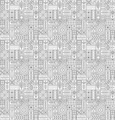 Example image of Scandinavian design tiles with floral abstractions Patterns and ornaments with Scandinavian motifs within the rectangular frames Linear style illustration Monochrome seamless background