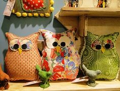 Could easily DIY these cute owl pillows for the kids to use in the living area instead of all their stuffed animals.