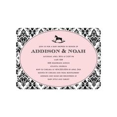 Heirloom Damask: Blush Girl Baby Shower Invitations