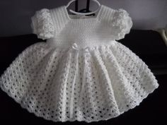 Crochet White Baby Dress, Baptism Blessing Christening Dress Made to Order