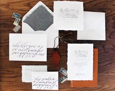 Elegant Monochromatic Calligraphy Wedding Invitations by Lazywood Lane