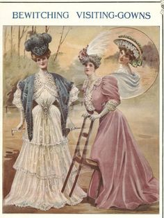 Magazine page showing visiting dresses, early 1900's
