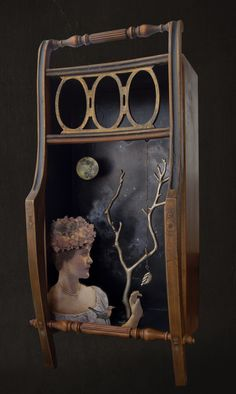 The Last Leaf - Artist Kass Copeland   Mixed media assemblage - Discarded chair, dresser drawer, secondhand jewelry, metal jewelry tree, wood cutouts