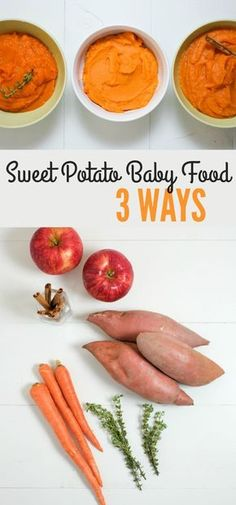 Sweet Potato Baby Food 3 Ways. Homemade baby food is inexpensive and easy! Sweet potatoes are great to start with because they're nutrient dense, tasty, and versatile. http://www.superhealthykids.com/sweet-potato-baby-food-3-ways/
