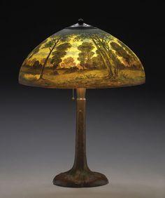 Handel Lamp Reverse Painted Landscape #6954, - Cowan's Auctions