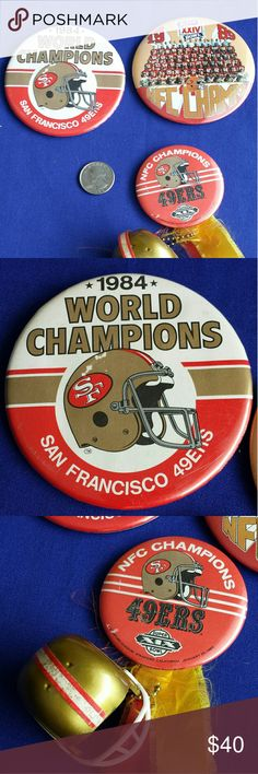 """3 Vintage SF 49ers, '84 '85 '89 Superbowl Pins Any SF 49ers memorababilia collector willhave to hsve yhese 3 pins commorating their 1980's Superbowl wins. The '84 pin is 3.5"""" diameter & has a bit of graphic ware. The '85 pin is  2.5"""" is great & was personalized by adding a 3D helmet & gold/red ribbon & ribbons are a bit frayed. The '89 pin is 3.5"""" & looks to be in  almost mint condition. Other"""