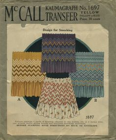 """Vintage Sewing Pattern for Smocking   McCall 1697   Year 193?   Kaumagraph Transfer for smocking in 2¾"""" and 4"""" widths"""