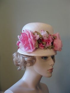 60s woven straw PINK FLOWER HAT by sillyrabbitvintage on Etsy, $20.00