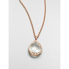 IPPOLITA Rose Rock Candy Clear Quartz Teardrop Pendant Necklace ($415) ❤ liked on Polyvore featuring jewelry, necklaces, apparel & accessories, rose gold, quartz necklace, rose necklace, quartz pendant necklace, rose quartz necklace and 18k necklace