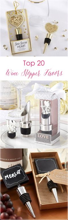 Find the best wine stoppers for your wedding favors! From personalized stoppers to trendy gold pineapples, we've got you covered.