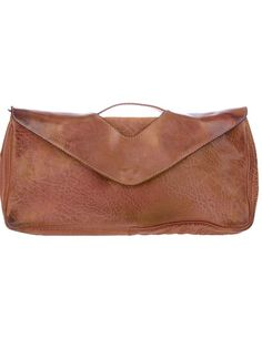 Brown leather shoulder bag from Numero 10 featuring a top handle, a detachable shoulder strap and a front flap closure.