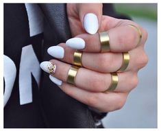 Short stiletto white HOT nails with gold ring sprinkle accent. ❤❤❤