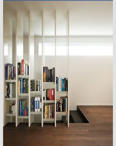 bookshelf wall bisecting the badroom from the stair platform/space area