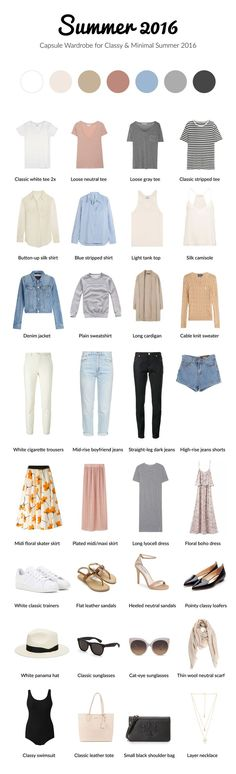 Summer 2016 capsule wardrobe for classy and #minimal #capsule by /brigitadaisy/