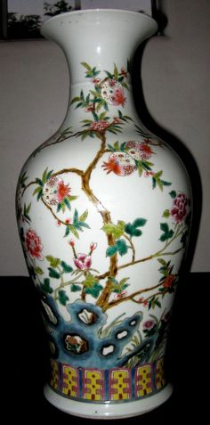 Antique Chinese Famille Rose Porcelain Vase Late 19th Century, Jiaqing Mark, NR.