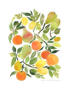 This is probably my favourite - Citrus- Watercolor Art Print by Yao Cheng
