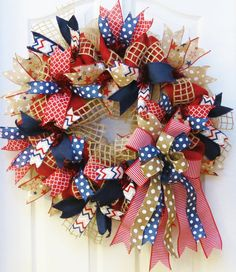 4th of July Wreath Memorial Day Wreath Patriotic by PinkBluebonnet