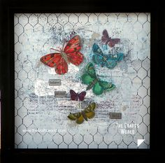 Using the butterflies from the Tattered Angels Mixed Media Origins papers, I based this layout on the contrast of the colorful butterflies and the white background. Scrap paper cuttings and heavy texture paste are mixed with black mist to give texure on the background and cover the wire themed paper. Craft wire in large circles …