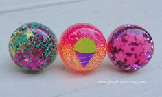 Mint Green Magenta Glitter Gold Stars Resin Dome by GlitterFusion