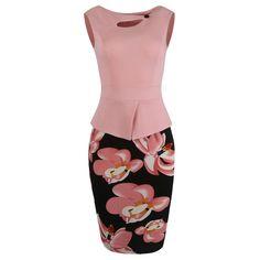 Plus Size 4XL 5XL Summer Women Print Floral Patchwork Working Pencil Dress Sleeveless Bodycon Office Sheath Sundress