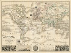 """Map of the world -  Vintage map restored - 24.5 x 33"""" Print"""