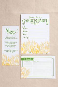 garden party: free printable set (invitation, menu card, recipe card, favor tag)