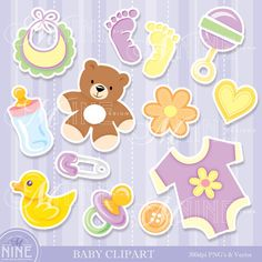 BABY Clipart Digital Clip Art, Instant Download, Sticker Style Baby Clip Art Icons Boy or Girl Unisex
