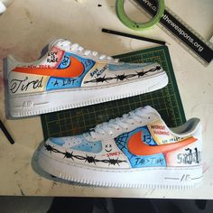 DM to order Custom Nike inspired by Vlone/ASAP Bari Personalised to the customer Air Force One Shoes, Nike Air Force Ones, Nike Air Shoes, Nike Shoes Outlet, Custom Sneakers, Custom Shoes, Customised Shoes, Mary Janes, Baskets