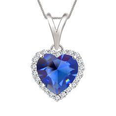 "7mm Sapphire & Sim Diamond Halo Heart Pendant 18"" Chain In 14K White Gold Over #Diamondetc #HaloHeartPendant #ValentinesDay"