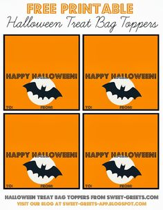 Just Peachy Designs: Free Printable Halloween Treat Bag Toppers