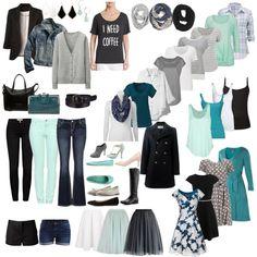 All-season wardrobe capsule: teal & mint