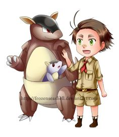 """HetaPoke-Australia+Kangaskhan by FrozenSeashell.deviantart.com on @deviantART - Fifteenth in a series pairing Hetalia characters with Pokémon. The artist said that this one was """"self-explanatory"""" - and I agree."""
