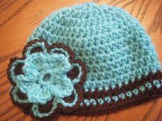crochet fall hat, turquois, flower, handmade www.facebook.com/sweetlittletoppings