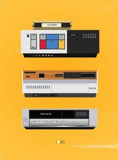 Colorful Retro 1980's Vintage Print - VCR Players. via Etsy.