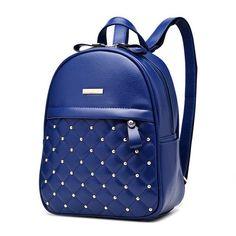 Women Backpacks 2017 Hot Sale Fashion Causal bags High Quality bead female shoulder bag PU Leather Backpacks Girls,mochila 627