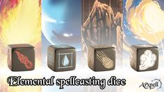 Elemental spell magic dice: Fire, Water, Earth and  Air – For all types of role playing games – 19 mm - D6 fully customized