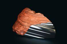 Peugeot Design Lab - Sculpture in red ferrous jasper and steel