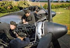 The Royal Air Force In Britain, June Mechanics at work on the Merlin engines of a Handley Page Halifax II of No 35 Squadron, Royal Air Force at Linton-on-Ouse, June Get premium, high resolution news photos at Getty Images Aircraft Engine, Ww2 Aircraft, Military Aircraft, Fighter Aircraft, Handley Page Halifax, Royal Air Force, World War Two, Wwii, Britain