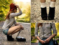 Dots Socks, Vintage Dots Sweater, Black Wedges, Orange Feather Hat