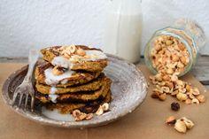 Hokkaido Pumpkin pancakes with coconut cream sauce & roasted hazelnuts. | A Tasty Love Story
