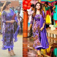 Nayantara Floral Chiffon Salwar - Indian Dresses Designer Anarkali Dresses, Designer Party Wear Dresses, Kurti Designs Party Wear, Indian Designer Outfits, Simple Kurta Designs, Kurta Designs Women, Long Dress Design, Dress Neck Designs, Indiana