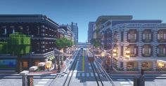 Looking down a street in an unfinished town I was building. Minecraft Modern City, Minecraft City Buildings, Minecraft Plans, Minecraft Tips, Minecraft Architecture, Minecraft Creations, Minecraft Projects, Minecraft Designs, Minecraft Houses