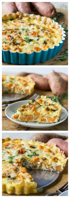 Roasted Sweet Potato Quiche with rosemary and gruyere