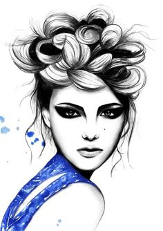fashion, design, blue, dress, hair, inspiration, pretty, makeup, cosmetics, pencil, ink, paint,