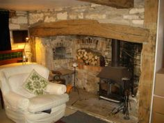 Large inglenook with beam Basement Fireplace, Country Fireplace, Inglenook Fireplace, Small Fireplace, Stove Fireplace, Vintage Fireplace, Log Burner Accessories, Converted Barn Homes, Wood Stove Hearth