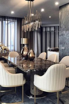 Grote Constantine Frolov interieurontwerper - Home Design - Luxury Dining Tables, Luxury Dining Room, Elegant Dining Room, Dining Room Design, Room Interior, Home Interior Design, Esstisch Design, Home Decor, Decor Ideas