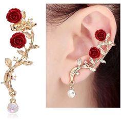CIShop Pink Rose Diamond Ear cuff Earrings stud Punk Style Ear Wrap(left ear) //… – Jewelry And Accessories Ear Jewelry, Body Jewelry, Bridal Jewelry, Jewelry Accessories, Fine Jewelry, Women Jewelry, Costume Accessories, Stylish Jewelry, Bridal Earrings