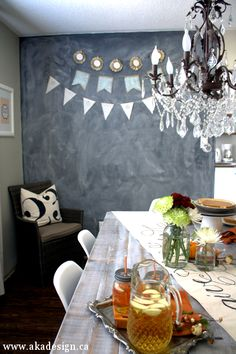 Fall Home Tour: dining room - chalkboard wall -chandelier