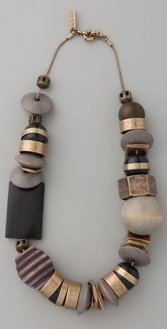Madewell Statement Combo Necklace.  Really like the loose copper rings as elements in this necklace and the big wooden beads.