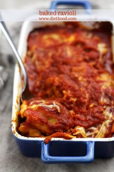 {Italian} Baked Ravioli | www.diethood.com | #recipe #pasta #casserole